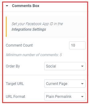 elementor编辑器facebook comment主体功能设置